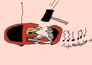 A smashed radio